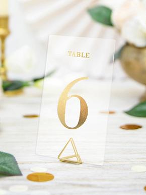 20 Marque tables transparents chiffres dorés 7 x 12 cm