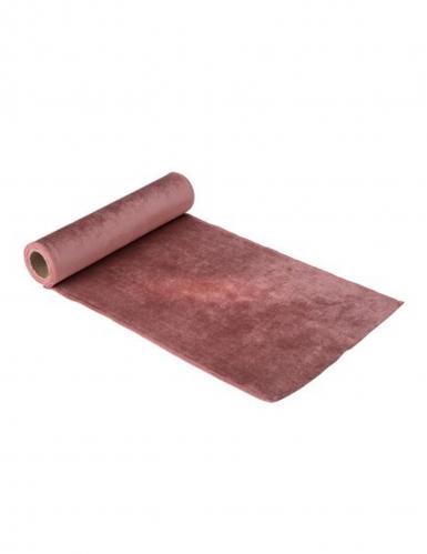 Chemin de table en velours rose poudré luxe 30 cm x 2,5 m