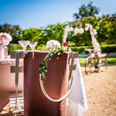 Chemin de table en velours rose poudré luxe 30 cm x 2,5 m-2
