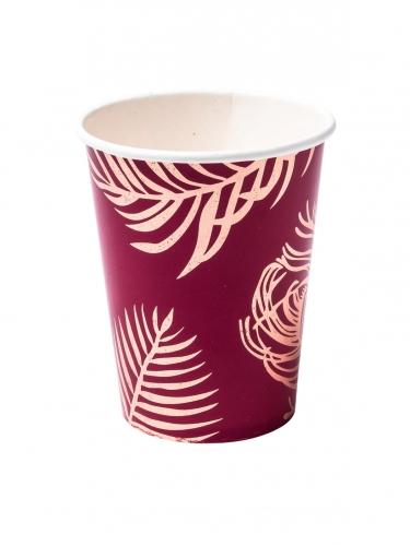 8 Gobelets en carton marsala plumes de paon rose gold 255 ml