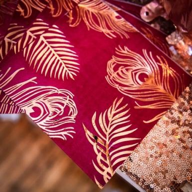16 Serviettes en papier marsala plumes de paon rose gold 33 x 33 cm-1