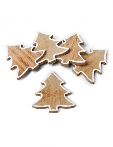 5 Sapins porte-noms en bois cérusé contours blancs 6 cm