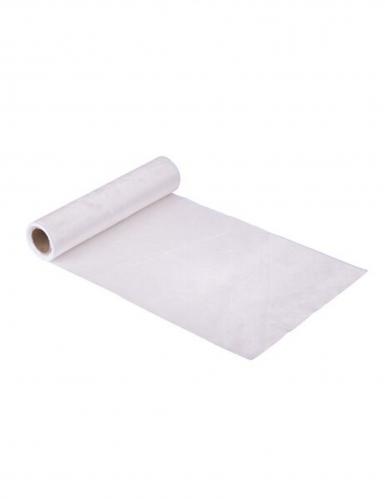 Chemin de table en velours blanc luxe 30 cm x 2,5 m
