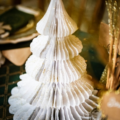 Sapin en papier alvéolé blanc 29 cm-1