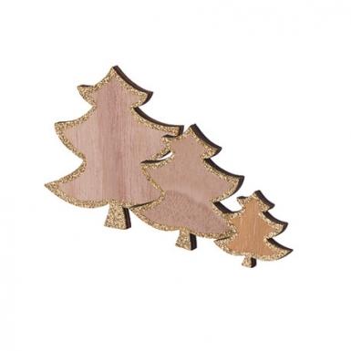 12 Sapins en bois paillettes dorés 7,5, 5,5 et 3,5 cm-1