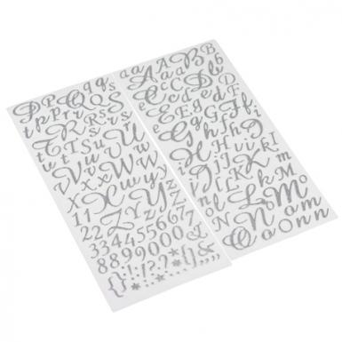 167 Stickers alphabet et chiffres paillettes argent 0,8 à 2 cm-1