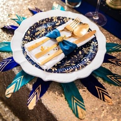 6 Plumes éthnique bleu paon et or 18-20 cm-1