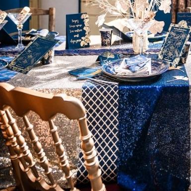 Chemin de table en lin marine losanges paillettes or 28 cm x 3 m-1