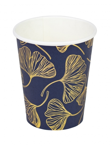 8 Gobelets en carton feuilles de ginkgo marine et or 255 ml