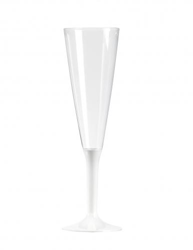 10 Flûtes à champagne pied blanc 150 ml