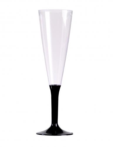 10 Flûtes à champagne pied noir 150 ml