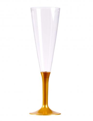 10 Flûtes à champagne pied or 150 ml