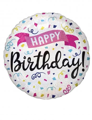 Ballon aluminium happy birthday cotillons multicolore 43 cm