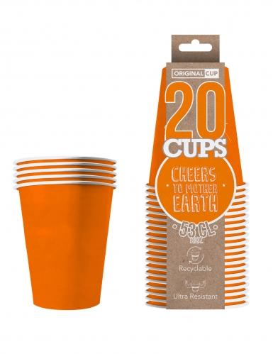 20 Gobelets américains carton recyclable orange 53cl-1