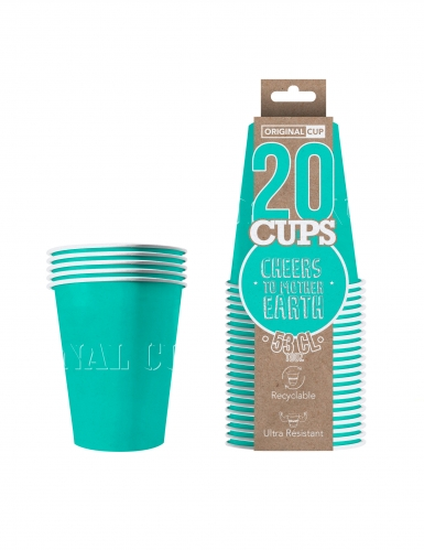 20 Gobelets américains carton recyclable turquoise 53 cl-1