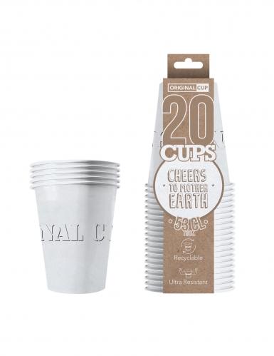 20 Gobelets américains carton recyclable blancs 53 cl-1