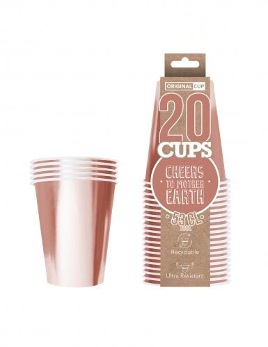 20 Gobelets américains carton recyclable rose gold 53cl-1