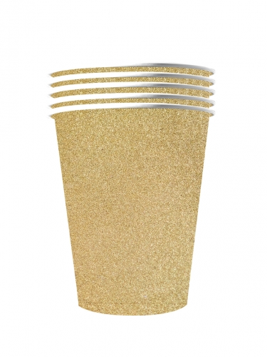10 Gobelets américains scintillants carton recyclable or 53 cl