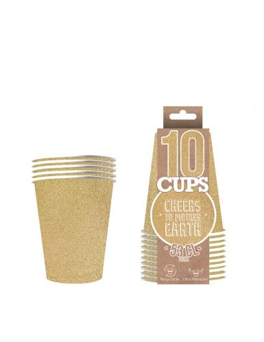 10 Gobelets américains scintillants carton recyclable or 53 cl-1