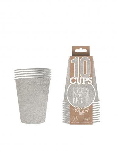10 Gobelets américains scintillants carton recyclable argent 53 cl-1