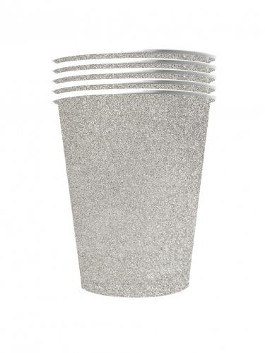10 Gobelets américains scintillants carton recyclable argent 53 cl
