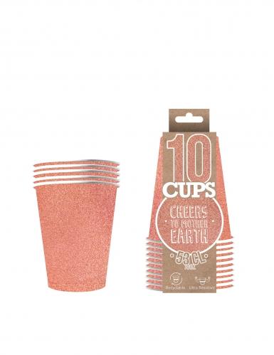 10 Gobelets américains scintillants carton recyclable rose gold 53cl-1