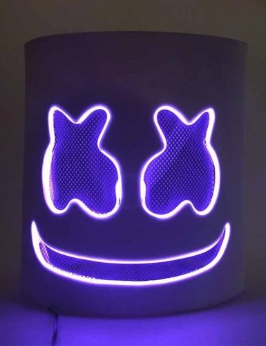 Masque DJ guimauve led violet adulte