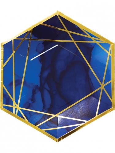 8 Assiettes en carton hexagonales marbre bleues et dorées 25 cm