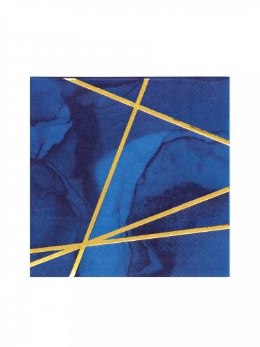 16 Petites serviettes en papier marbre bleues et dorées 25 x 25 cm