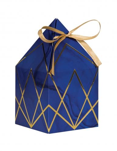 8 Boîtes en carton marbre bleues et dorées avec rubans 8 x 15 cm