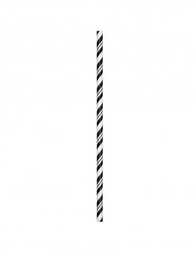 24 Pailles en carton flexibles biodégradables noires 19,7 cm