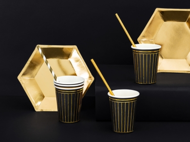 6 Gobelets en carton noirs et bandes dorées 260 ml-1