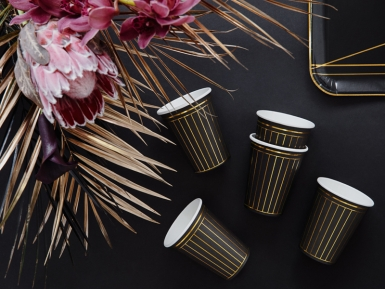 6 Gobelets en carton noirs et bandes dorées 260 ml-2