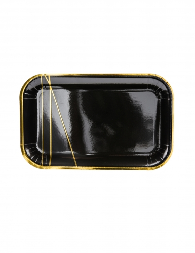6 Assiettes en carton noires et bandes dorées 22 x 13,5 cm