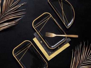 6 Assiettes en carton noires et bandes dorées 22 x 13,5 cm-1