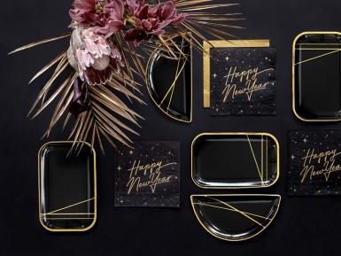 6 Assiettes en carton noires et bandes dorées 22 x 13,5 cm-2