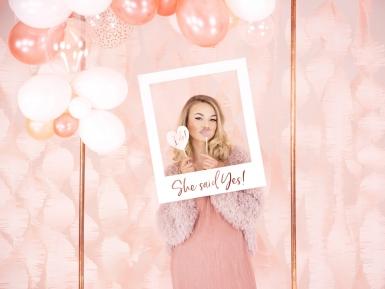Cadre photo en carton she said yes blanc et rose gold 50 x 59,5 cm-1