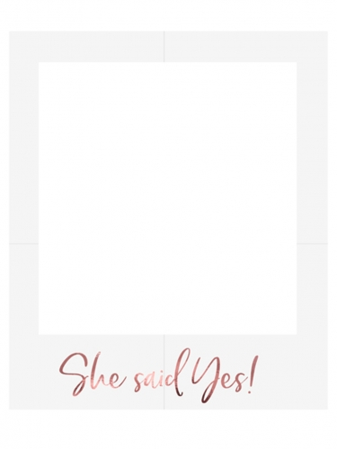 Cadre photo en carton she said yes blanc et rose gold 50 x 59,5 cm
