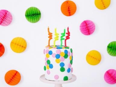 4 Bougies d'anniversaire tourbillons multicolores 8 cm-1