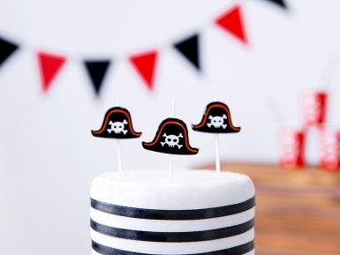5 Bougies d'anniversaire sur pic chapeaux pirates 2 cm-1