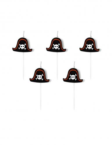5 Bougies d'anniversaire sur pic chapeaux pirates 2 cm