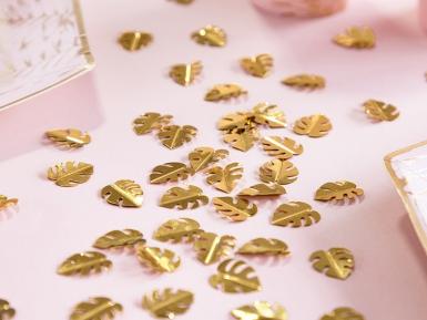 Confettis de table feuilles tropicales dorées métallisées 15 g-1