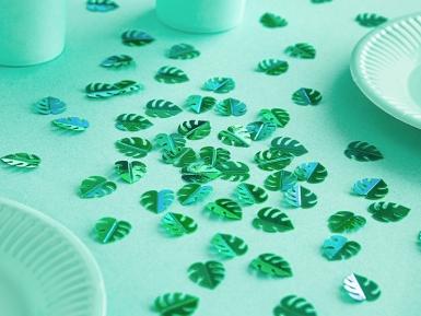 Confettis de table feuilles tropicales vertes métallisées 15 g-1