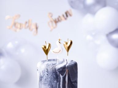 6 Bougies sur pic cygnes et cœurs blancs et dorés 3,5 - 4 cm-1