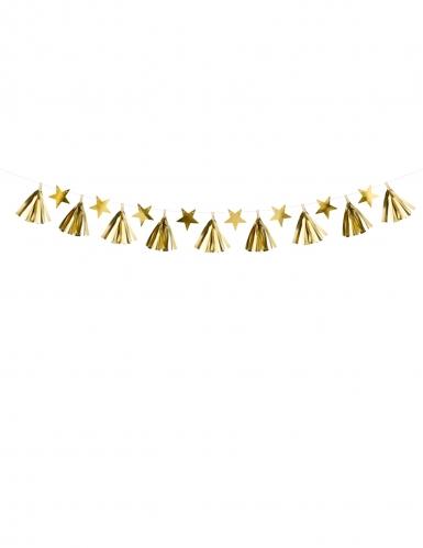Guirlande en papier tassel étoiles dorées 15 cm x 1,3 m