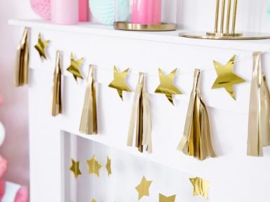 Guirlande en papier tassel étoiles dorées 15 cm x 1,3 m-1
