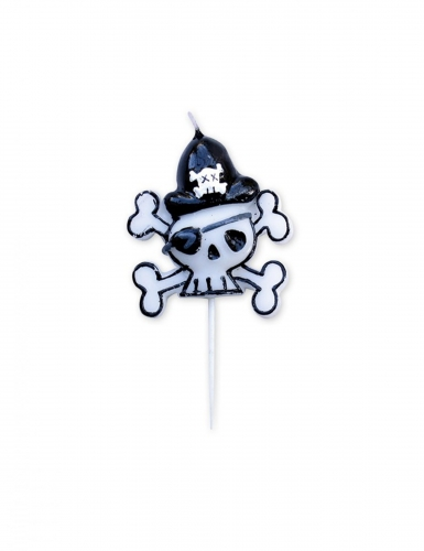 Bougie sur pic tête tête de mort pirate 9 cm