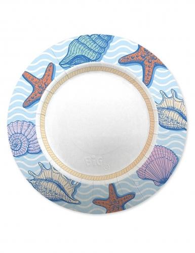 8 Assiettes en carton océan 25 cm