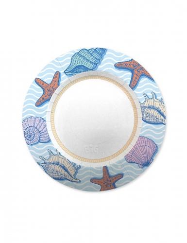 8 Petites assiettes en carton océan 20 cm