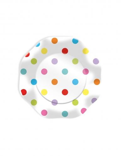 10 Petites assiettes en carton pois multicolores 18 cm
